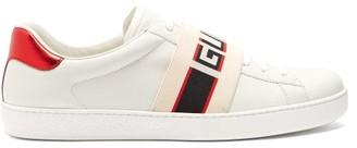 Gucci Ace Jacquard Stripe Leather Trainers - Mens - White Multi
