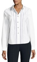 Elie Tahari Joyce Embroidered Button-Front Blouse, White