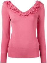 Ermanno Scervino ruffle neck top - women - Nylon/Polyester/Viscose - 40