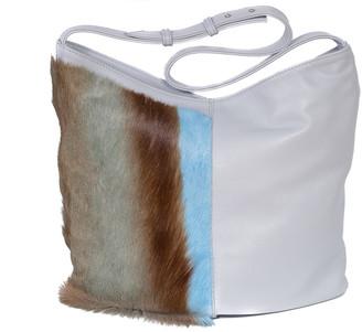SHERENE MELINDA Hobo Springbok Leather Handbag In Baby Blue With A Stripe