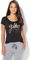 "New York & Co. Lounge - Shimmering ""Golden"" Graphic Logo Tee"