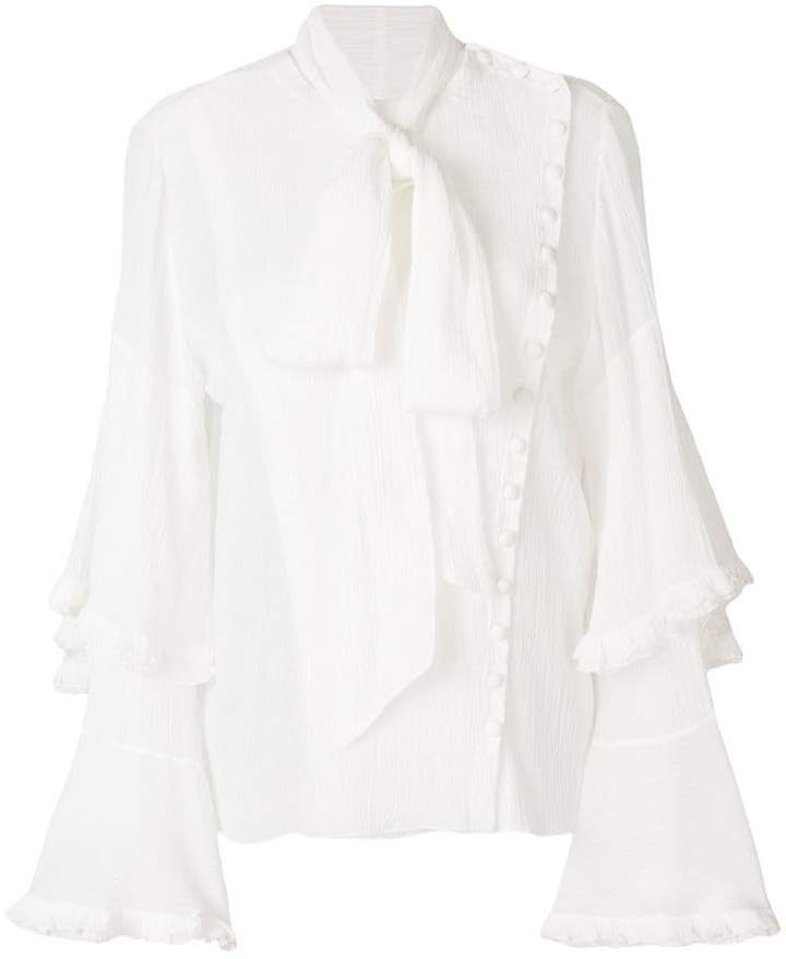 Chloé asymmetric pussy bow blouse