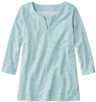 L.L. Bean Women's Pima Cotton Tunic, Three-Quarter-Sleeve Splitneck Print