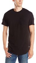Southpole Men's Short Sleeve Scallop T-Shirt with Ripped Denim Details Combined