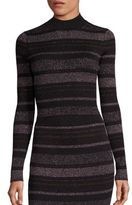 KENDALL + KYLIE Metallic Striped Rib-Knit Cropped Sweater