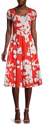 Caroline Constas Abstract Floral-Print Stretch-Cotton Dress