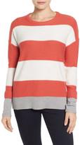 Caslon Contrast Cuff Crewneck Sweater (Petite)