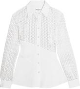 Sonia Rykiel Broderie anglaise-paneled cotton-poplin shirt