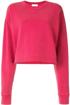 John Elliott Cropped Cotton Sweatshirt