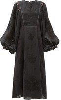 Vita Kin - Happy Flower Embroidered Linen Dress - Womens - Black