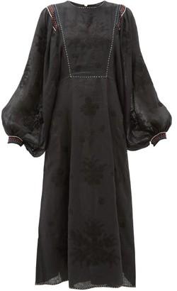 Vita Kin - Happy Flower Embroidered Linen Dress - Black