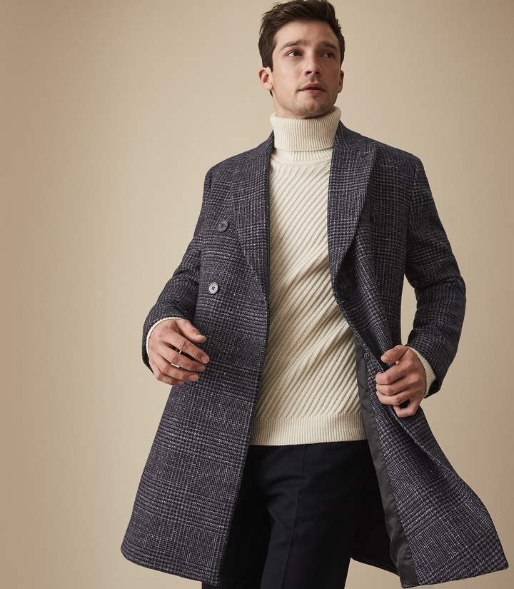 Reiss FRANCISCO WOOL BLEND DOUBLE BREASTED OVERCOAT Blue