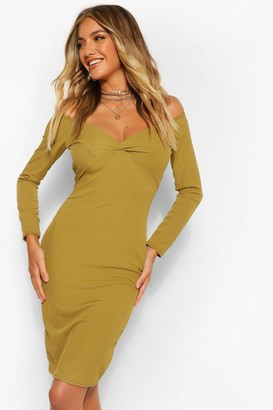 boohoo Rib Off The Shoulder Midi Dress