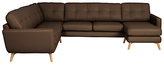 John Lewis Barbican Semi-Aniline Leather Grand Corner End Sofa with RHF Chaise Unit