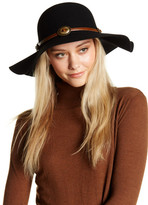 David & Young Faux Leather Band Wool Felt Floppy Hat