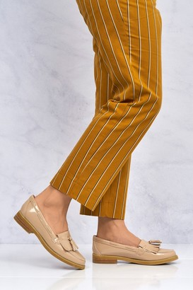 Miss Diva Hetty Flat Fringe Toggle Loafer in Nude Patent