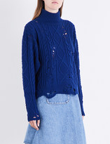 Miharayasuhiro Distressed cable-knitted jumper
