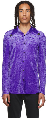 Sankuanz Purple Velour Metal Collar Shirt