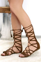 Soda Sunglasses Spice Market Cognac Suede Lace-Up Gladiator Sandals