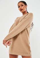 Missguided Petite Beige Ribbed High Neck Jumper Dress