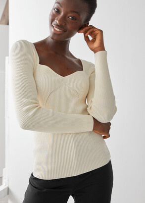 And other stories Fitted Sweetheart Neck Rib Top