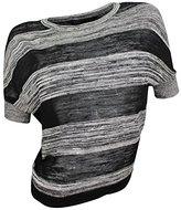 BCBGMAXAZRIA Women's Black Striped Sheer Opaque Dolman Knit Top