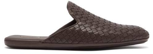 Bottega Veneta Intrecciato Backless Leather Slipper Shoes - Mens - Brown