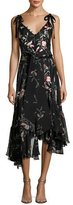 Josie Natori Pressed Flower-Print Ruffled Silk Chiffon Dress, Black