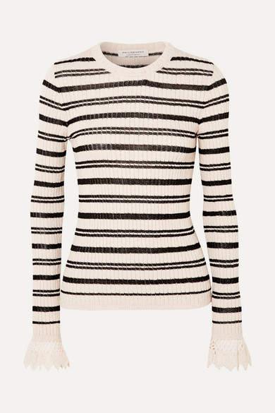 Philosophy di Lorenzo Serafini Crochet-trimmed Striped Ribbed Cotton-blend Sweater - Ecru