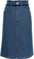 See by Chloe Frayed Denim Skirt - Dark denim
