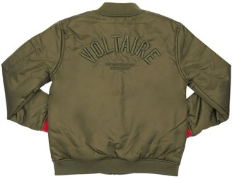 Zadig & Voltaire Embroidered Logo Satin Bomber Jacket