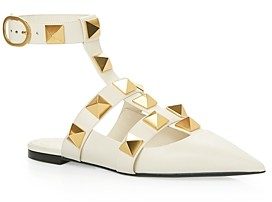 Valentino Women's Pointed Toe Pyramid Studded Ballerina Flat Pumps