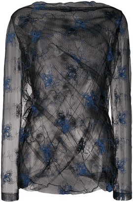Romeo Gigli Pre-Owned SS 1990 embroidered sheer blouse