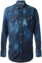 DSQUARED2 distressed denim shirt - men - Cotton/Spandex/Elastane - 46