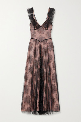 Fleur Du Mal Pleated Embroidered Tulle Maxi Dress - Black