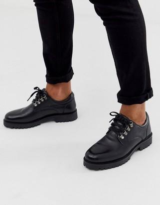 Walk London sean hiker shoes in black leather