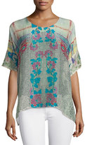 Johnny Was Engina Printed Short-Sleeve Boxy Top, Plus Size