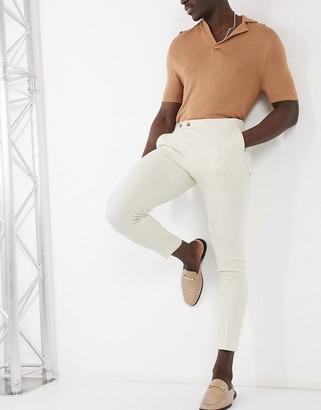 ASOS DESIGN super skinny cotton linen smart pants in offwhite