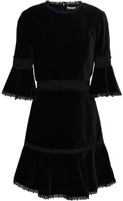 Alice + Olivia Lace-trimmed Velvet Mini Dress