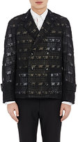 Thom Browne MEN'S CROCHETED-LACE DOUBLE-BREASTED JACKET-BLACK SIZE 1