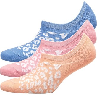 Fruit Cake Fruitcake Womens Three Pack Leopard Print Invisible Trainer Liners Purple/Pink/Peach