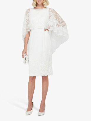 Monsoon Dora Bridal Embellished Midi Dress, Ivory