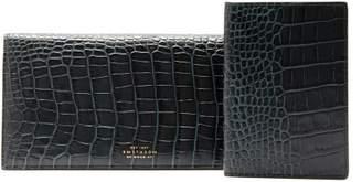 Smythson Crocodile-effect Bi-fold Leather Travel Wallet - Mens - Green
