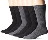 Fruit of the Loom Men's 6 Pack Cushioned Ribbed Crew Socks