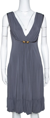 Roberto Cavalli Grey Draped Jersey Brooch Detail Short Dress S