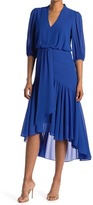 Taylor V-Neck Puff Sleeve Low Tiered Dress