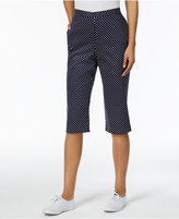 Alfred Dunner Petite Seas The Day Dot-Print Pull-On Capris