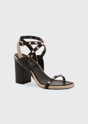 Valentino Rockstud Crisscross Block-Heel Sandals