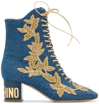 Moschino Denim Lace-Up Boots