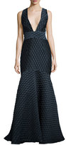 Milly Cross-Back Jacquard Mermaid Gown, Navy